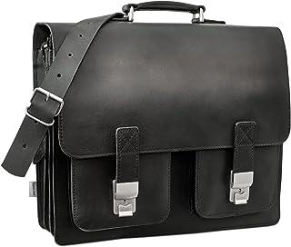 hamosons Große Aktentasche Lehrertasche Größe XL aus Leder, für Damen und Herren, Hamosons 690