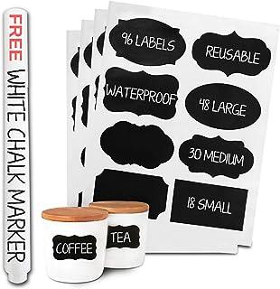 96 Premium Chalkboard Labels Bulk – Free Erasable Chalk Pen – Dishwasher Safe..