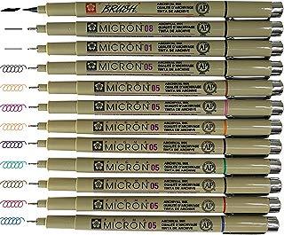 Sakura Pigma Micron pens 12 Fineliner Drawing Set (05 Assorted Color with Black Brush, 08, 01 & 05)