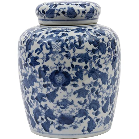 Creative Co-op Decorative Blue and White Ceramic Ginger Jar with Lid, Large