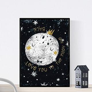 Nacnic Art White Moon Impression Style Nordique Noir et Blanc. Enfants compositions planétaires Papier 250 GR encres de Ha...