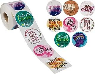 Paper Junkie 500-Piece Round Feminist Encouragement Stickers, Feminism Girl Power Quotes, 8 Designs, 2 x 2 Inches