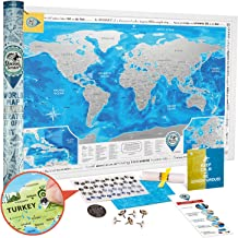 Scratch Off World Map Poster Silver - Large Detailed Scratch Off Map of The World 35x25 - Award Winning Premium Travel Map Scratch Off with USA/Canada States - Discovery Map