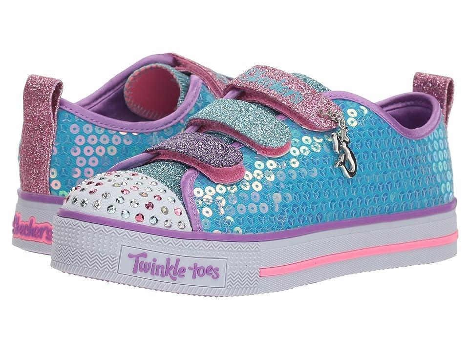 SKECHERS KIDS Twinkle Toes Shuffle Lite 20062L (Little Kid/Big Kid) (Turquoise/Multi) Girl