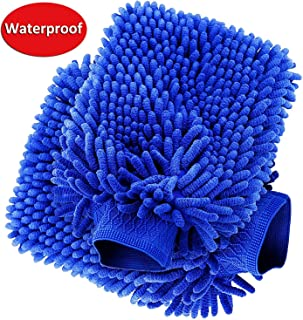 anngrowy Car Wash Mitt 2 Pack - Extra Large Size Clean Tools Kits- Premium Chenille Microfiber Winter Waterproof Cleaning Mitts Sponge - Washing Glove with Lint Free & Scratch Free