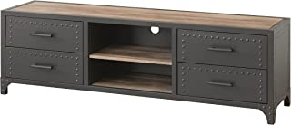 Homely - Mueble TV de diseño Industrial Bejar Metal y MDF 159x44 cm