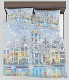ZELXXXDA Decor Bedding Set Christmas Noel Time at Amsterdam Canal with Historical Famous Buildings North Europe Design Full/Queen Size Duvet Cover with 2 Matching Pillow sham