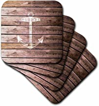 3dRose CST_120205_4 White Anchor Stamp on Wood Texture Graphic Print-Not Actually Wooden-Ceramic Tile Coasters, Set of 8