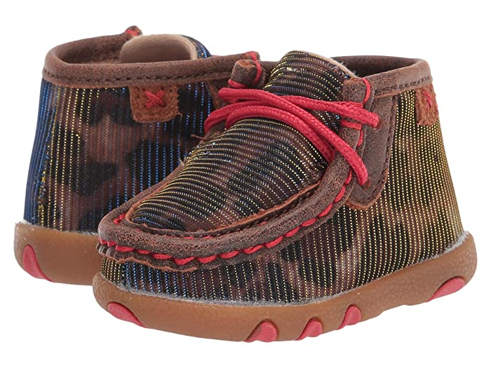 Twisted X  Chukka Driving Moc (Infant/Toddler) (Shiny Leopard/Red) Shoes