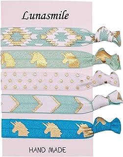 Unicorn Party Favors Hair Tie Set, Girls Birthday Ponytail Holder Hair Ties,Unicorn Hair Ties 6 Pack