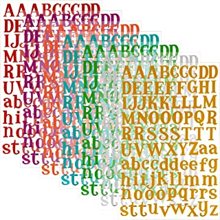 MADHOLLY 7 Sheets Letter Sticker, Colorful Gift Alphabet Sticker Self Adhesive Letter