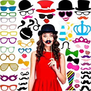 60 Pieces Photo Booth Props Kit Funny Selfie Props Accessories with Mustache on a Stick, Hats, Glasses, Mouth, Bowler, Bowties for Party Decorations Supplies Favors