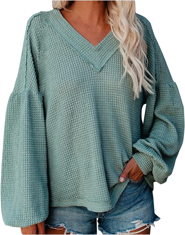 Women's Plus Size Casual Drop Shoulder Store Long Sleeve Nec V Lantern Super sale period limited