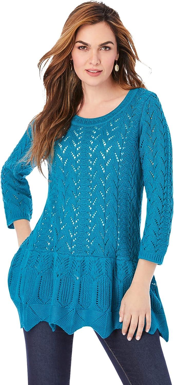 Roamans Women's Plus Size Sonia Peplum Crochet Sweater