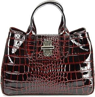 Belli Echt Leder Handtasche Damen Ledertasche Umhängetasche Henkeltasche in Glattleder, Kroko oder Strauss Strauß Prägung - 36x25x18 cm B x H x T