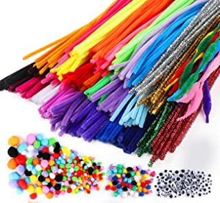 Fil Chenille Pompon Kit, 700pcs Fluffy Pipe Cleaners (300 Cure Pipes + 250 Pompons + 150 Sized Googly Eyes) - pour Arts et...