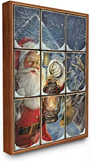 The Stupell Home Décor Collection Holiday Santa Claus in The Windowpane with Lantern Painting Stretched Canvas Wall Art, 24 x 30, Multi-Color