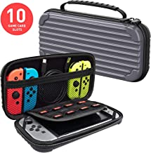 MEQI Nintendo Switch Carrying Case Protective Hard Shell Slim Travel Carry Case -10 Game Cartridge Holders Portable Carry Case Pouch for Nintendo Switch Console & Accessories - Gray