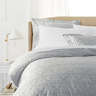 Pinzon Paris Printed Duvet Set - Full/Queen, Cotton, Light Gray, King