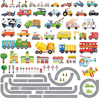 DECOWALL DAT-1404P1405 The Road and Transports Kids Wall Decals Wall Stickers Peel and Stick Removable Wall Stickers for Kids Nursery Bedroom Living Room