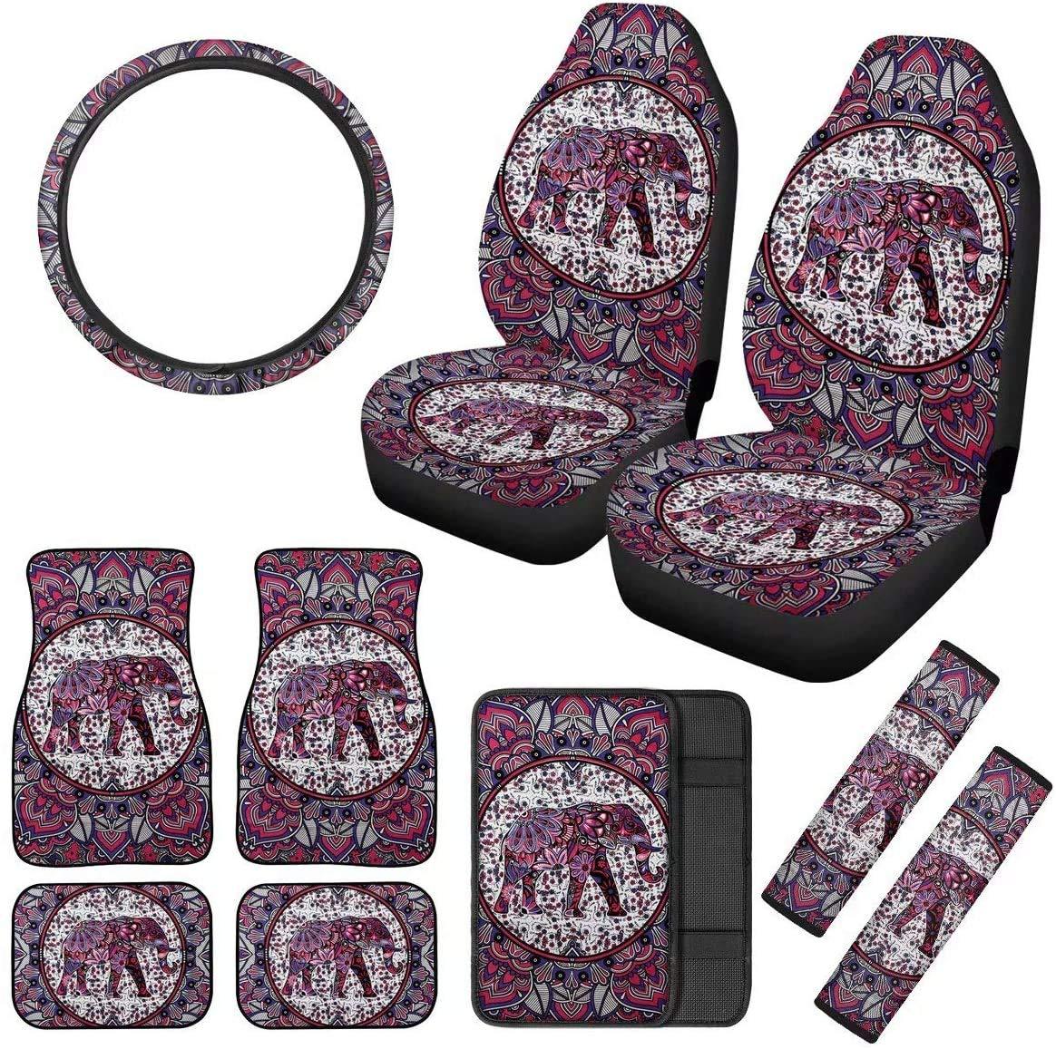 Amazon Com Cozeyat Boho Elephant Auto Seat Covers Car Interior Decor Full Set 10pcs Women Girly Vehicle Accessory Fashion Car Decoration Automotive