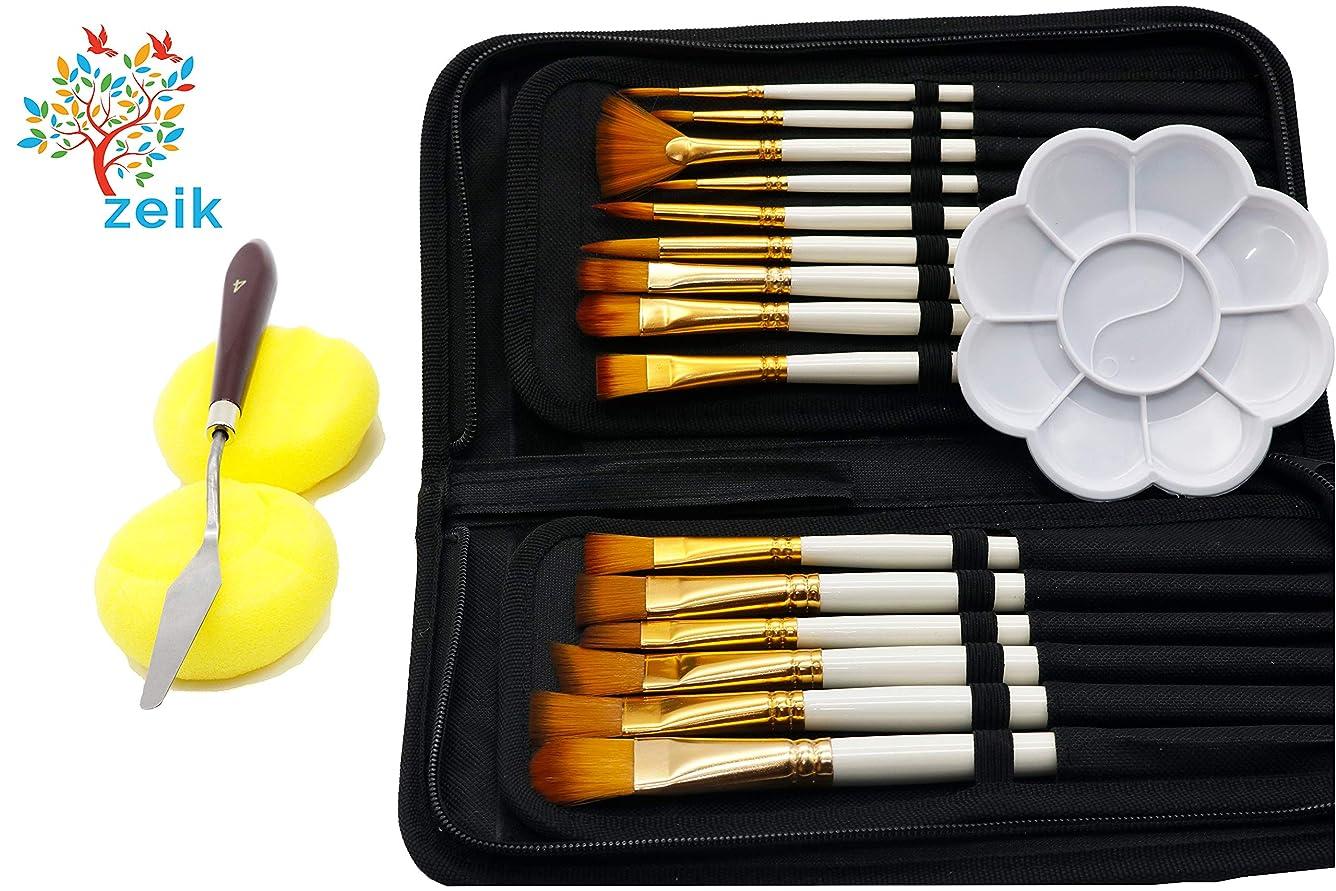 バナナ支給無法者絵の具 筆 セット, 水彩 筆, アクリル絵の具 筆, 油絵の具 筆 と アクリルガッシュペイント 15セットのペイントブラシ,キャリングケース,ミキシングパレット,パレットナイフ,2つのスポンジ