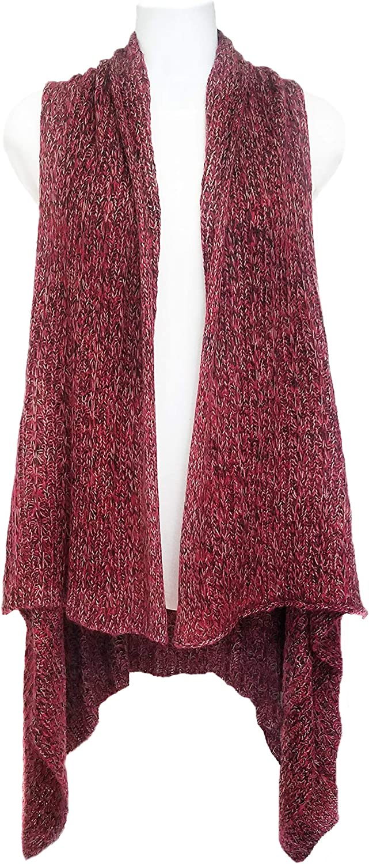 ii Free-Flowing Sweater Vest Cardigan. Burgundy Blend Tweed Knit. Draped Hemline