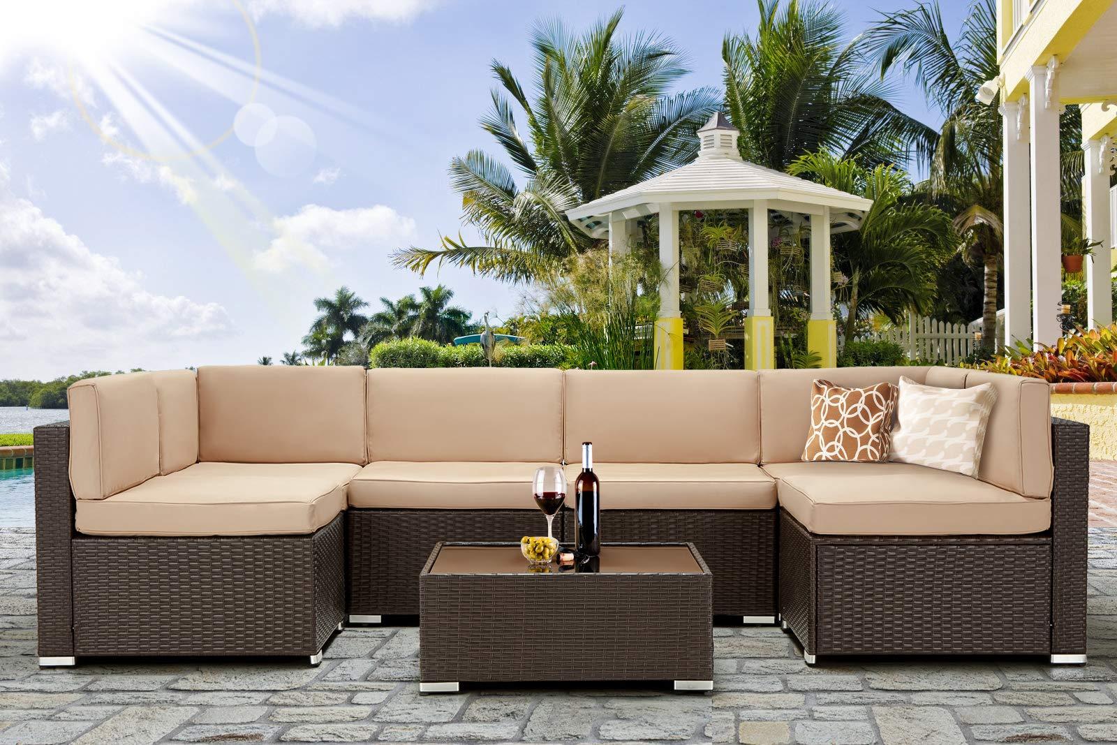 U-MAX 7 Piece Outdoor Patio Furniture Set, PE Rattan Wicker Sofa Set, Outdoor Sectional Furniture Chair Set with Khaki Cus...