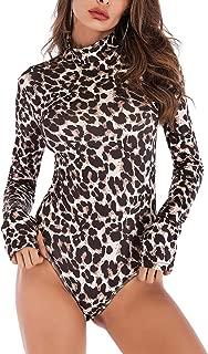 FEOYA Womens Long Sleeve Bodysuit Turtleneck Snakeskin Leopard Thong Jumpsuit Sexy V-Neck Zip Bodycon Romper