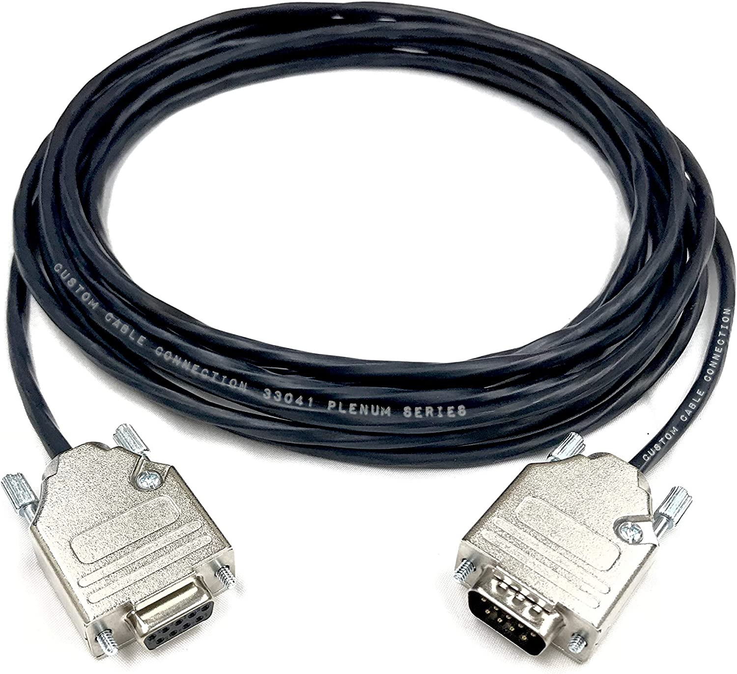 3 Foot DB9 Male to Female RS232 Plenum Extension Serial Cable Made in The USA by Custom Cable Connection 22 AWG with Plenum Black Jacket