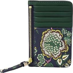 Floral Tassel Top Zip Card Case
