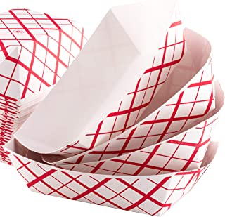 Grease-Proof Sturdy Food Trays by Eucatus. Serve Hot or Cold Snacks in These Classic Carnival Style Checkered Paper Baskets. Perfect for Concession Stand or Circus Party Fare!