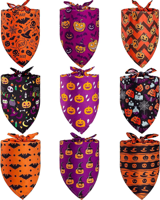 9 Pieces Halloween Dog Bandana National products Spi Neckerchief ...