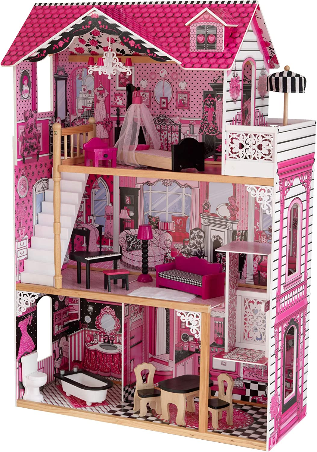 KidKraft Amelia Wooden Dollhouse with Rapid rise Balcony New sales 15-P and Elevator