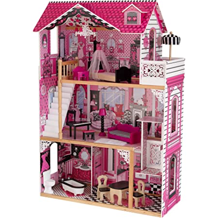 KidKraft 65093 Casa delle bambole in legno Amelia per bambole di 30cm con 15 accessori inclusi e 3 livelli di gioco