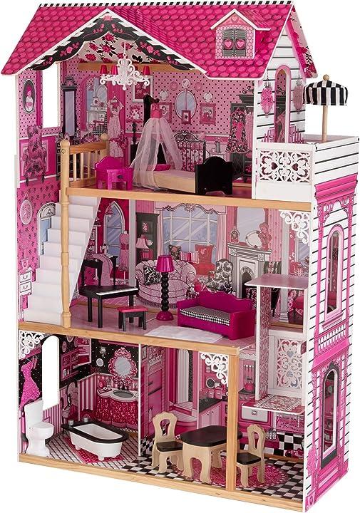 Casa delle bambole kidkraft 65093 per bambole di 30 cm, 15 accessori inclusi, 3 livelli di gioco - 3 anni - KKR65093