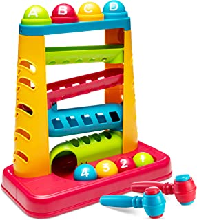 Zetz Brands Pound A Ball Toy STEM Games for Kids - Child-Safe, Non-Toxic Hammering and Pounding Toys with Ramp Tower, Mult...