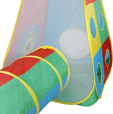 Smartxchoices 5pc Pop Up Play Tents and Tunnels, Playhouse for Boys, Girls, Babies, Indoor Outdoor, Lightweight, Easy to Setu