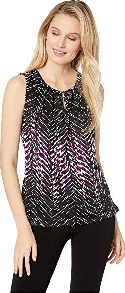 Sleeveless Printed Knit Top with Keyhole Neck