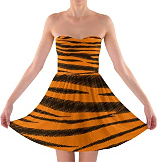 Rainbow Rules Tigger Stripes Winnie The Pooh Inspired Sweetheart Skater Dress Strapless