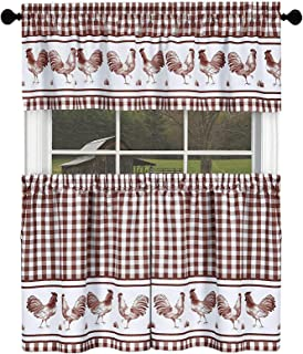 GoodGram Country Home Plaid Rooster Kitchen Curtain Tier & Valance Set - Assorted Colors & Sizes (24 in. Long, Burgundy)