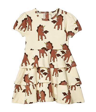 mini rodini Unicorns All Over Printed Dress (Infant/Toddler/Little Kids/Big Kids) (Off-White) Girl