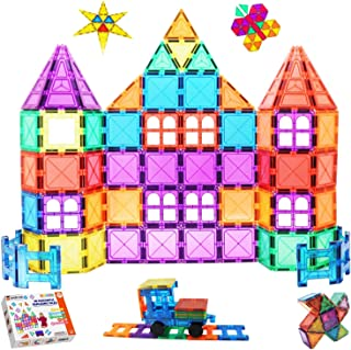 Shiryas Super Strong Magnetic Tiles 100 Piece Set, STEM Magnetic Building Blocks Construction, Educational Toys for Early ...