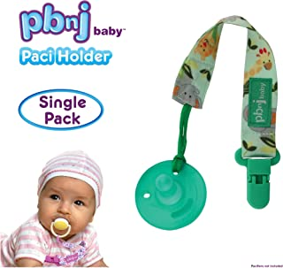 PBnJ baby Pacifier Clip Holder Strap Leash Tether for Boys and Girls with Safe Plastic Clip (Jungle - Single)