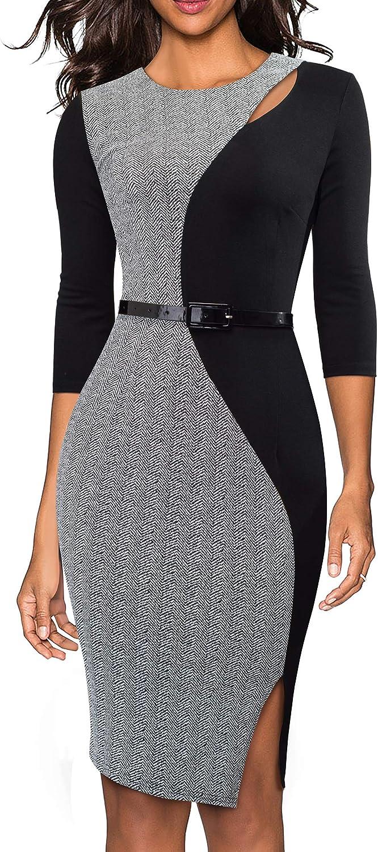 HOMEYEE Women's 3/4 Sleeve Colorblock Business Dress with Belt B478