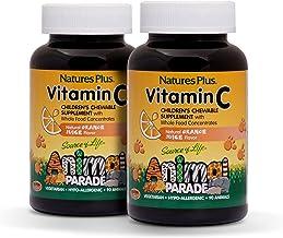NaturesPlus Animal Parade Source of Life Vitamin C Children's Chewable (2 Pack) - Natural Orange Juice Flavor - 90 Animal ...