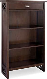 Leick Furniture Mantel Height 3-Shelf Bookcase With Drawer Storage, Chocolate Oak