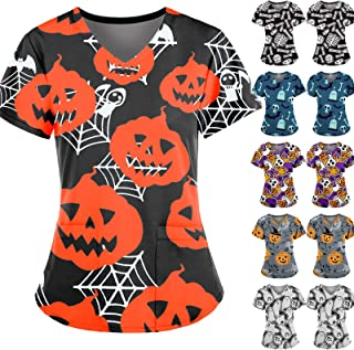 YOYHX Women Short Sleeve Halloween Print Medical Working Tops Working Uniform with Pocket Blouse