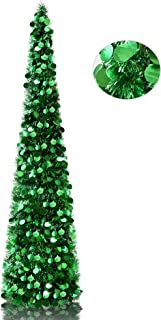 YuQi 5' Green Pop-Up Artificial Christmas Tree,Collapsible Pencil Christmas Trees for Apartments,Dorm Rooms,Fireplace or Party