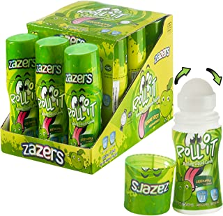 Green Apple Flavored Sour Rolling Liquid Candy - 12 Pack of Roll-It Bottles by Zazers - Gluten-Free and No Coloring Added (Kosher, NET WT 16.2 OZ, 480mL)